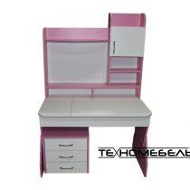 Детская парта ТЕХНОмебель от 3-х до 18 лет розовый-белый