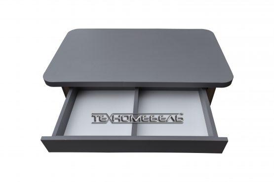 Кухонный стол серого цвета с выдвижным ящиком