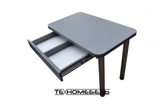 Кухонный стол с выдвижным ящиком серого цвета