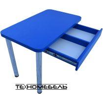Кухонный стол с выдвижным ящиком синего цвета ТЕХНОмебель L=1200 мм